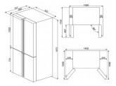 Отдельностоящий 4-х дверный холодильник Side-by-Side, 92 см, Чёрный Smeg FQ960N