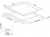 Комбинированная варочная панель газ + индукция, 75 см, Чёрный Smeg PM6721WLDX