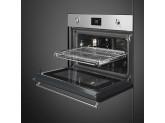 Компактный духовой шкаф, комбинированный с микроволновой печью, 60 см, Нержавеющая сталь Smeg SF4390MCX