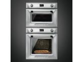 Компактный духовой шкаф, комбинированный с пароваркой, 60 см, Серебристый Smeg SF4920VCX1