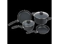 Набор алюминиевой посуды с алмазным покрытием из кастрюли и ковша с крышками и 2-х сковород, Черный Swiss Diamond XD Classic+