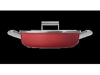 Сковорода глубокая с двумя ручками и крышкой, 28 см, Красная Smeg CKFD2811RDM