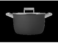 Кастрюля с двумя ручками и крышкой 26 см, Чёрная Smeg CKFC2611BLM