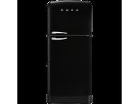 Отдельностоящий двухдверный холодильник, стиль 50-х годов, 80 см, Чёрный Smeg FAB50RBL5