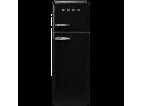 Отдельностоящий двухдверный холодильник, стиль 50-х годов, 60 см, Чёрный Smeg FAB30RBL3