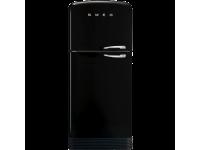 Отдельностоящий двухдверный холодильник, стиль 50-х годов, 80 см, Чёрный Smeg FAB50LBL