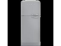 Отдельностоящий двухдверный холодильник, стиль 50-х годов, 80 см, Серебристый Smeg FAB50LSV