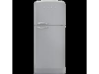 Отдельностоящий двухдверный холодильник, стиль 50-х годов, 80 см, Серебристый Smeg FAB50RSV