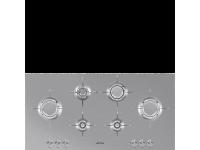 Газовая варочная панель, 100 см, Нержавеющая сталь Smeg PXL6106
