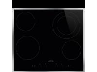 Стеклокерамическая варочная панель, 60 см, Чёрный Smeg SE364ETFX