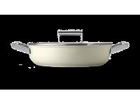 Сковорода глубокая с двумя ручками и крышкой, 28 см, Кремовая Smeg CKFD2811CRM