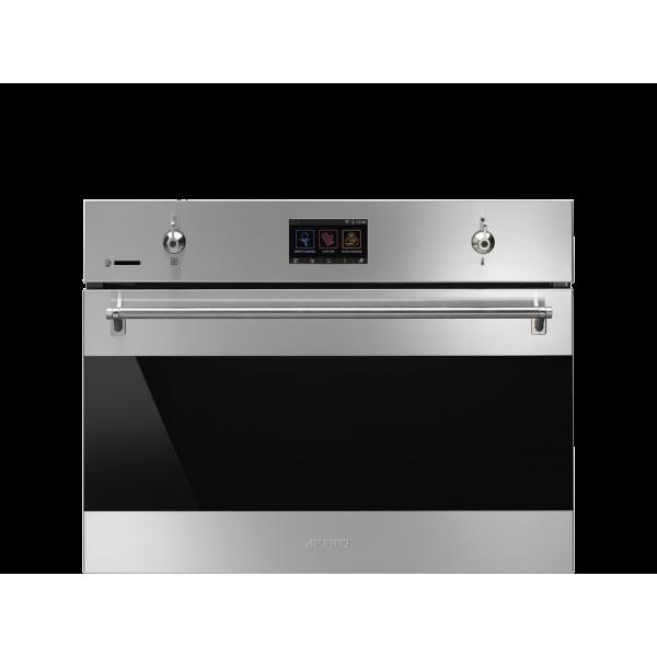Компактный духовой шкаф, комбинированный с микроволновой печью, 60 см, Нержавеющая сталь Smeg SF4303WMCX