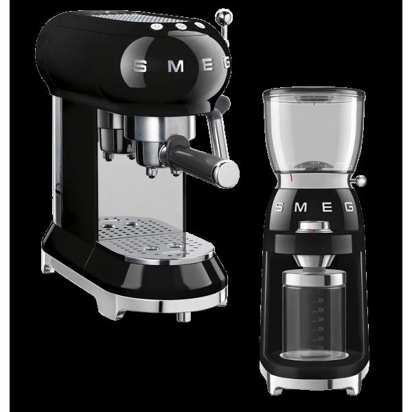 Набор Smeg кофемашина-эспрессо ECF01BLEU + кофемолка CGF01BLEU Чёрный