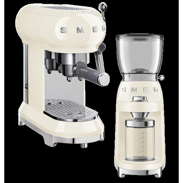 Набор Smeg кофемашина-эспрессо ECF01CREU + кофемолка CGF01CREU Кремовый