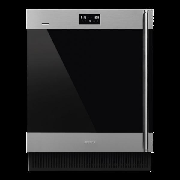 Холодильный шкаф для вина встраиваемый, 82 см, Нержавеющая сталь Smeg CVI338LX3
