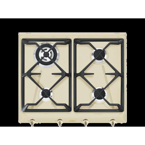 Газовая варочная панель, 60 см, Кремовый Smeg SRV864POGH