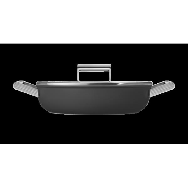 Сковорода глубокая с двумя ручками и крышкой, 28 см, Чёрная Smeg CKFD2811BLM