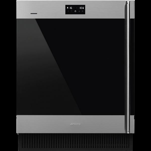 Холодильный шкаф для вина встраиваемый, 82 см, Нержавеющая сталь Smeg CVI338LWX2