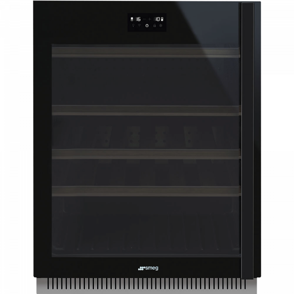 Холодильный шкаф для вина встраиваемый, 82 см, Чёрный Smeg CVI638LWN2