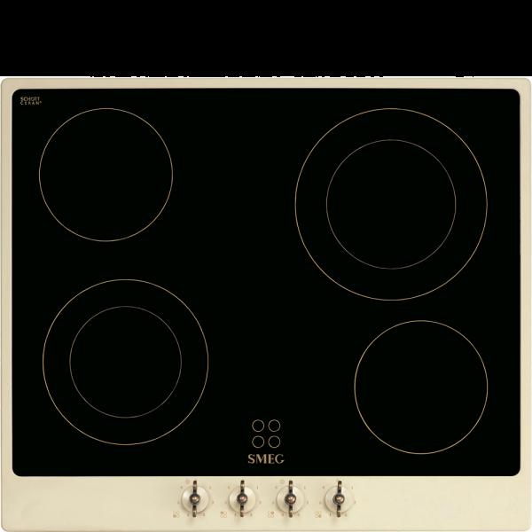 Стеклокерамическая варочная панель, 60 см, Кремовый Smeg P864PO