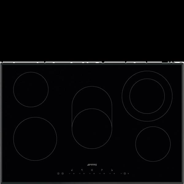 Стеклокерамическая варочная панель, 77 см, Чёрный Smeg SE385EMTB