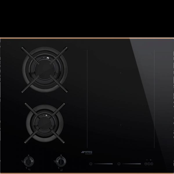 Комбинированная варочная панель газ + индукция, 65 см, Чёрный Smeg PM6621WLDR
