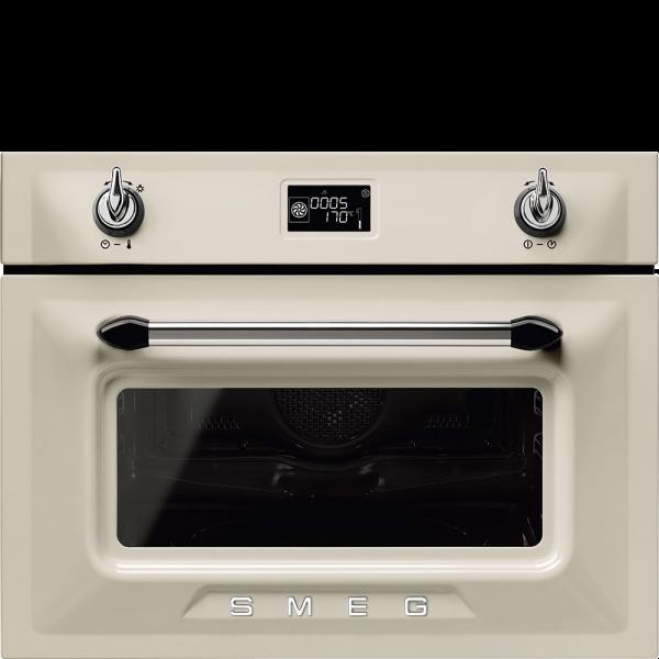 Компактный духовой шкаф, комбинированный с микроволновой печью, 45 см, Кремовый Smeg SF4920MCP1