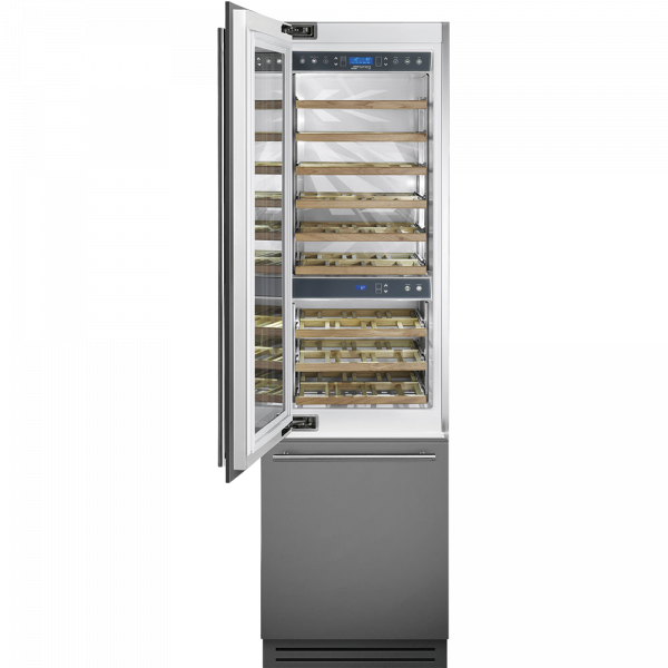 Винный холодильник встраиваемый, 60 см, Нержавеющая сталь Smeg WI66LS