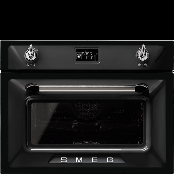 Компактный духовой шкаф, комбинированный с пароваркой, 60 см, Чёрный Smeg SF4920VCN1